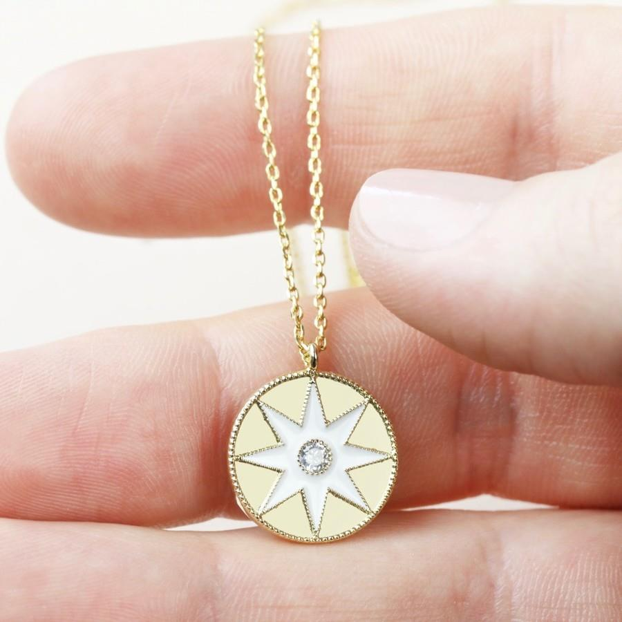 White Enamel Star Disc Pendant Necklace in Gold