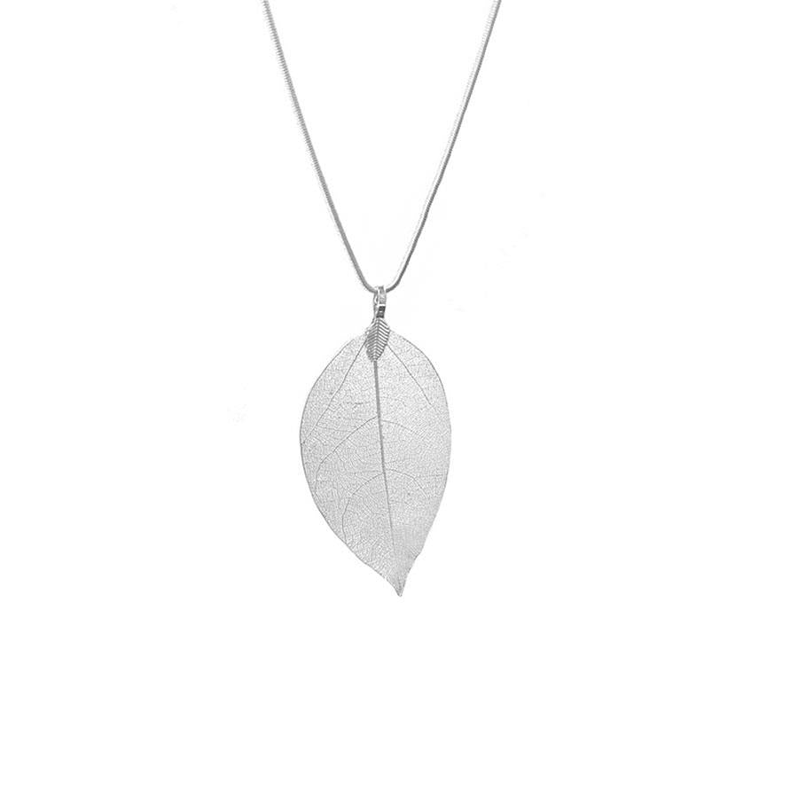 Silver Plated Real Leaf Pendant Necklace