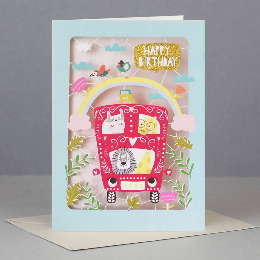 Animal Bus Kids Birthday Card