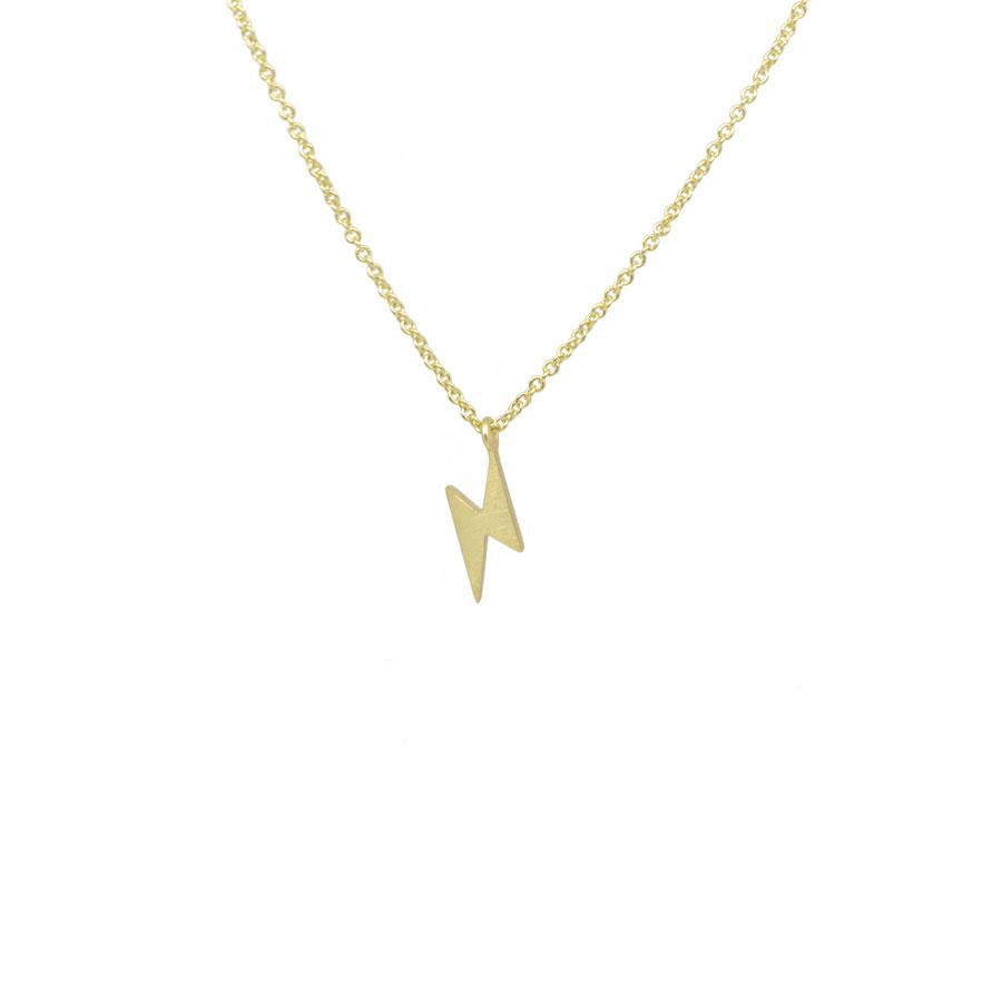 Gold Plated Lightning Strike Pendant Necklace