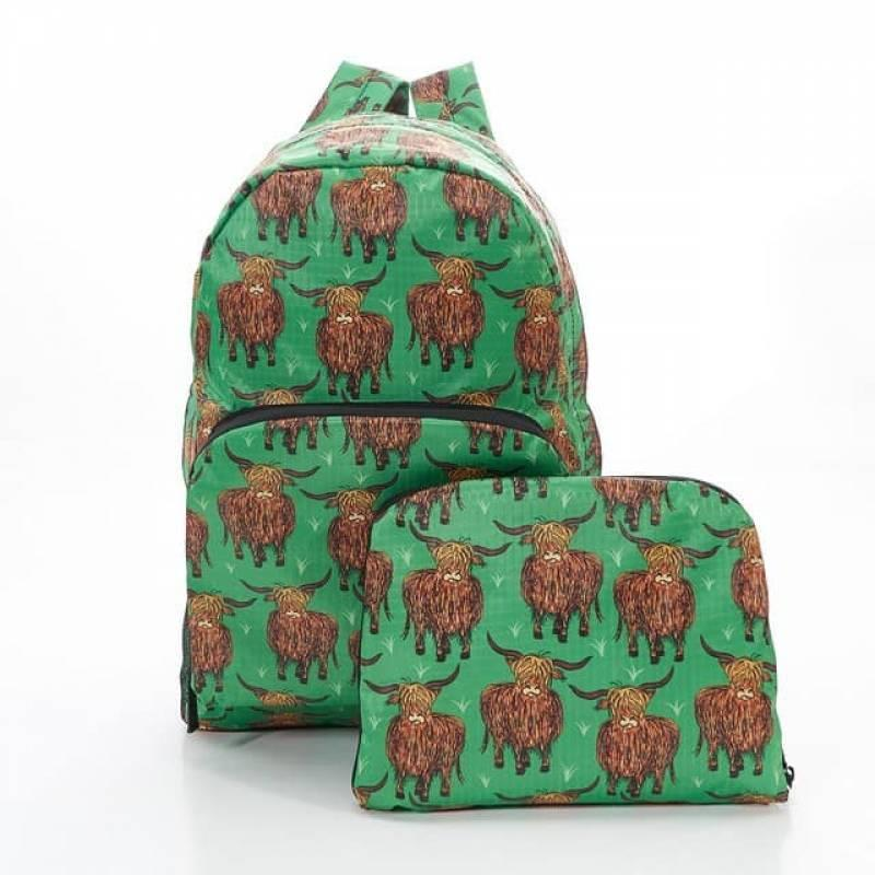 Green Highland Cow Foldable Backpack