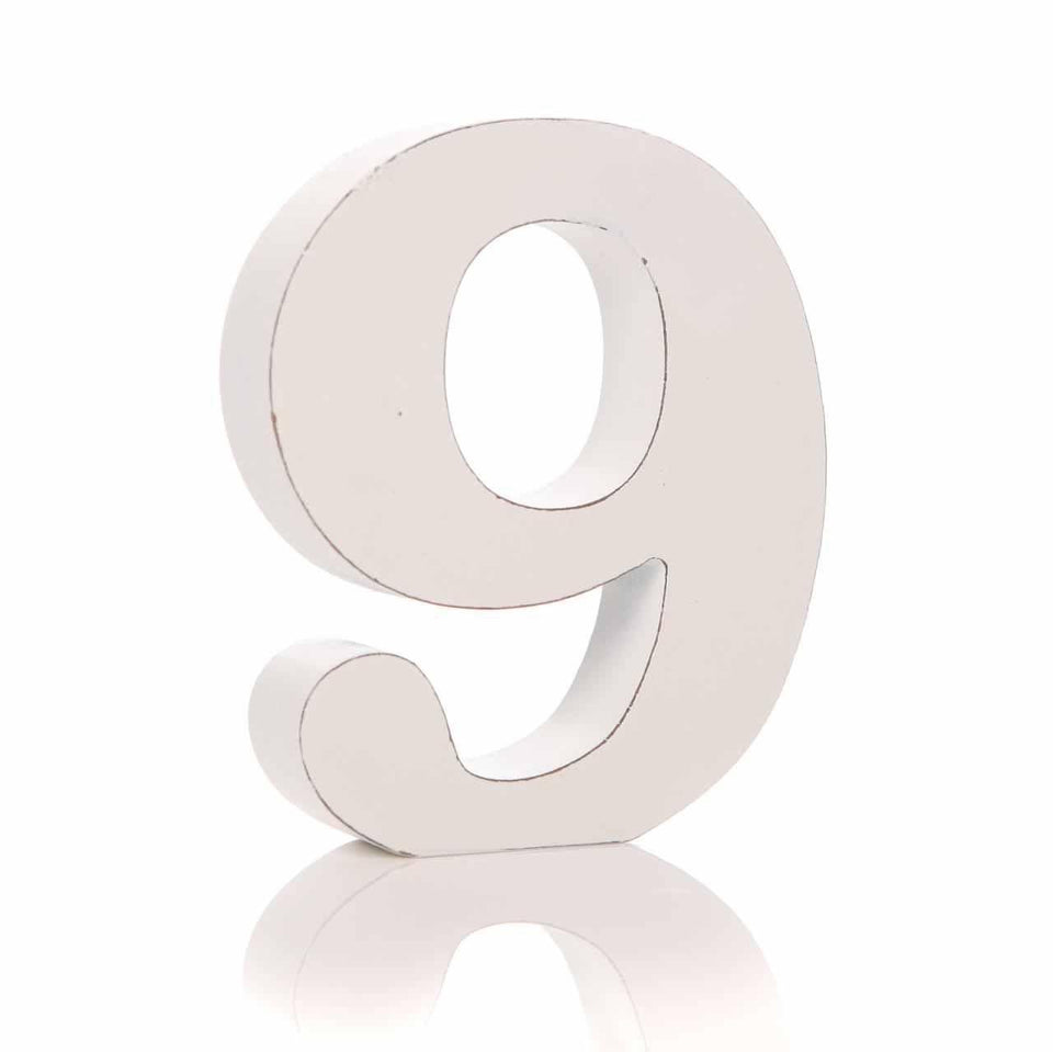 '9' Number White Block