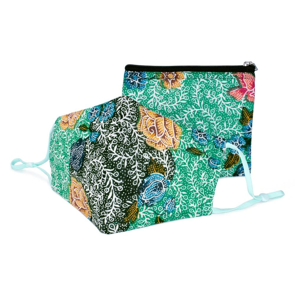 Green Batik Face Mask & Purse Set