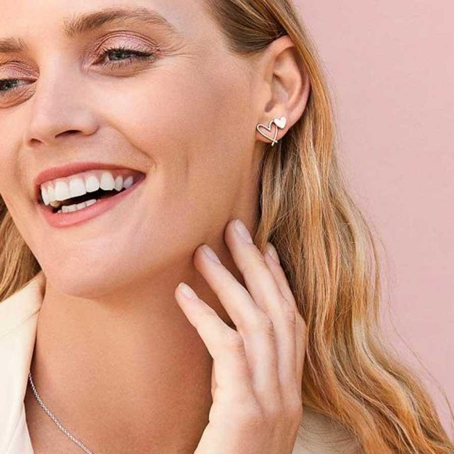 Florrie Rose Gold Heart Stud Earrings