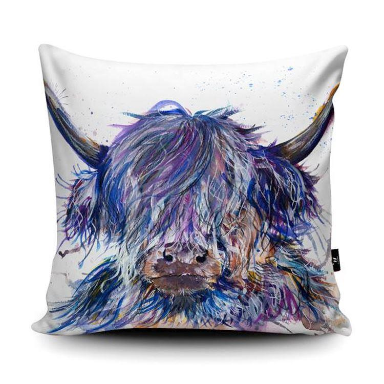Splatter Design Purple Scruffy Cow Cushion