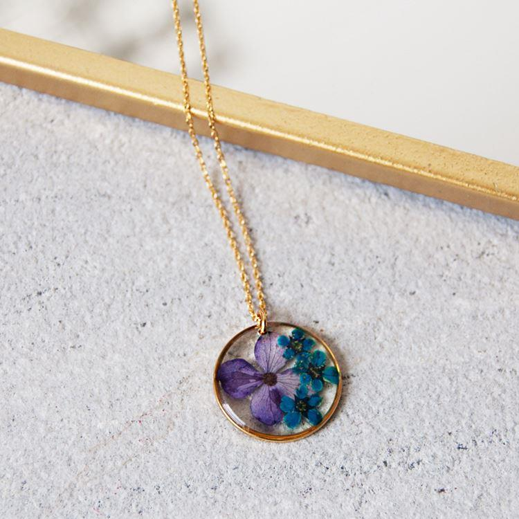 Round Flower Necklace | Purple and Teal