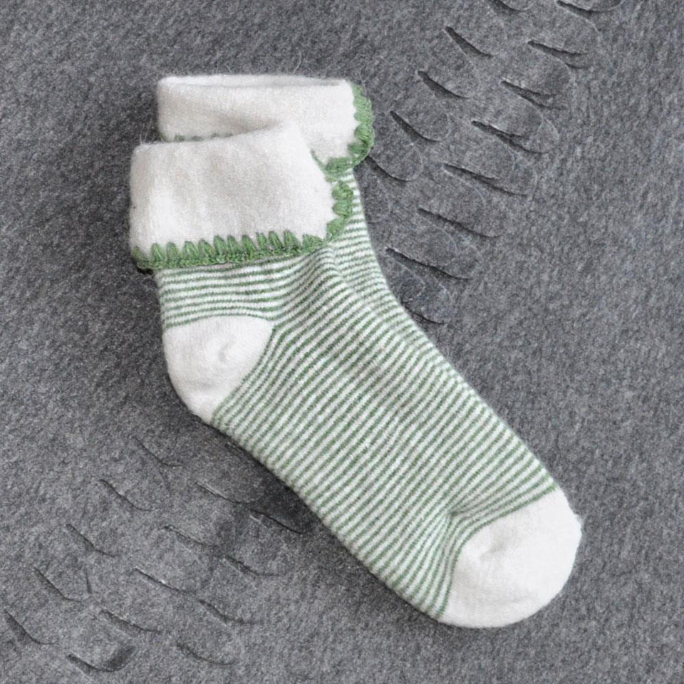 Green and Cream Stripey Cuff Socks