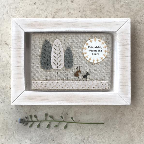 Friendship Embroidered Wooden Frame Decoration