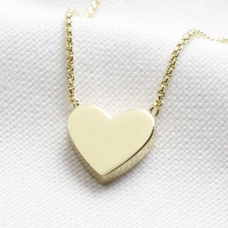 Box Chain and Heart Pendant Necklace in Gold