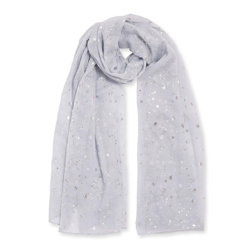 Shine Bright Pale Grey Metallic Sentiment Scarf