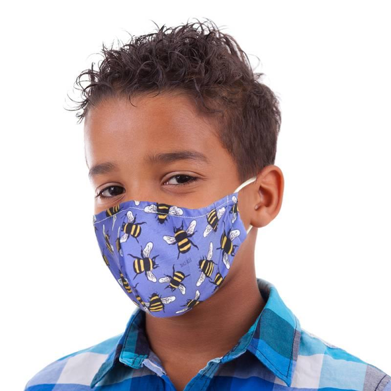 Blue Bee Print Kid's Face Mask