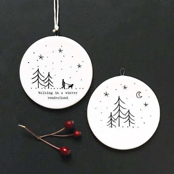 Winter Wonderland Flat Porcelain Bauble