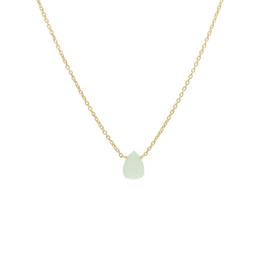 Gold Aqua Chalcedony Gem Necklace