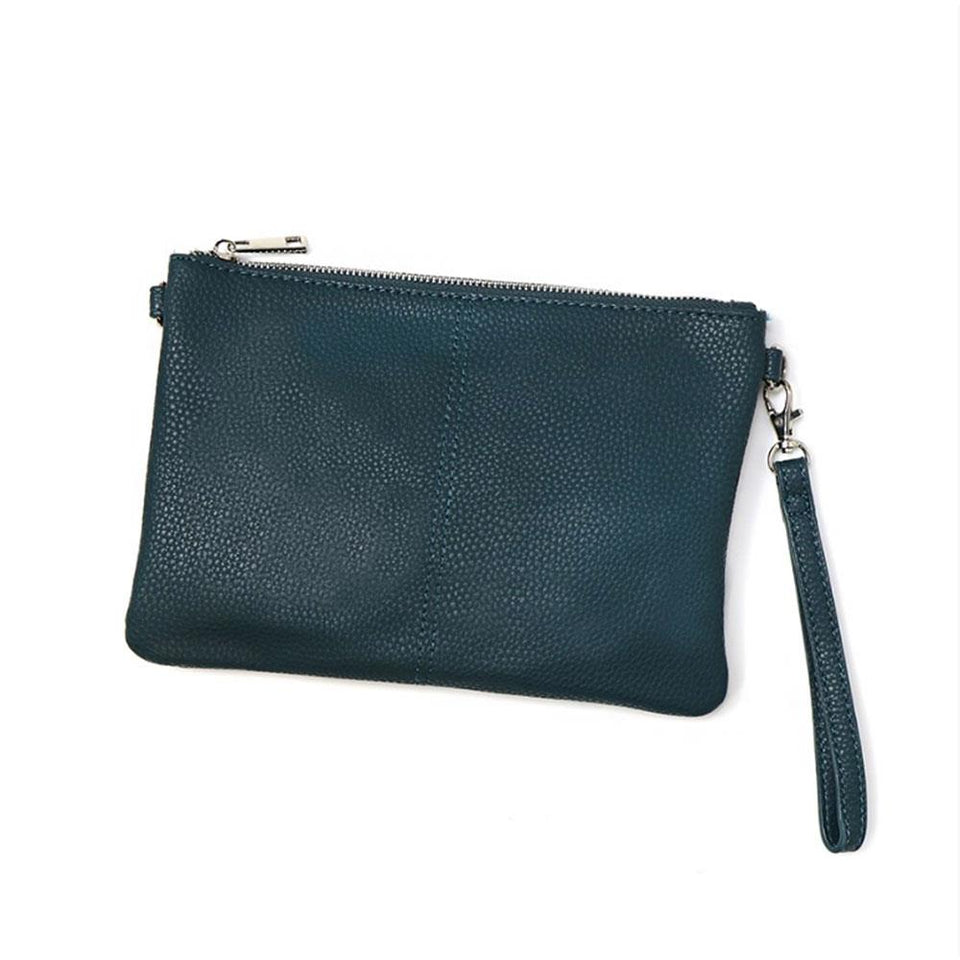 Vegan Leather Convertible Clutch Bag in Teal