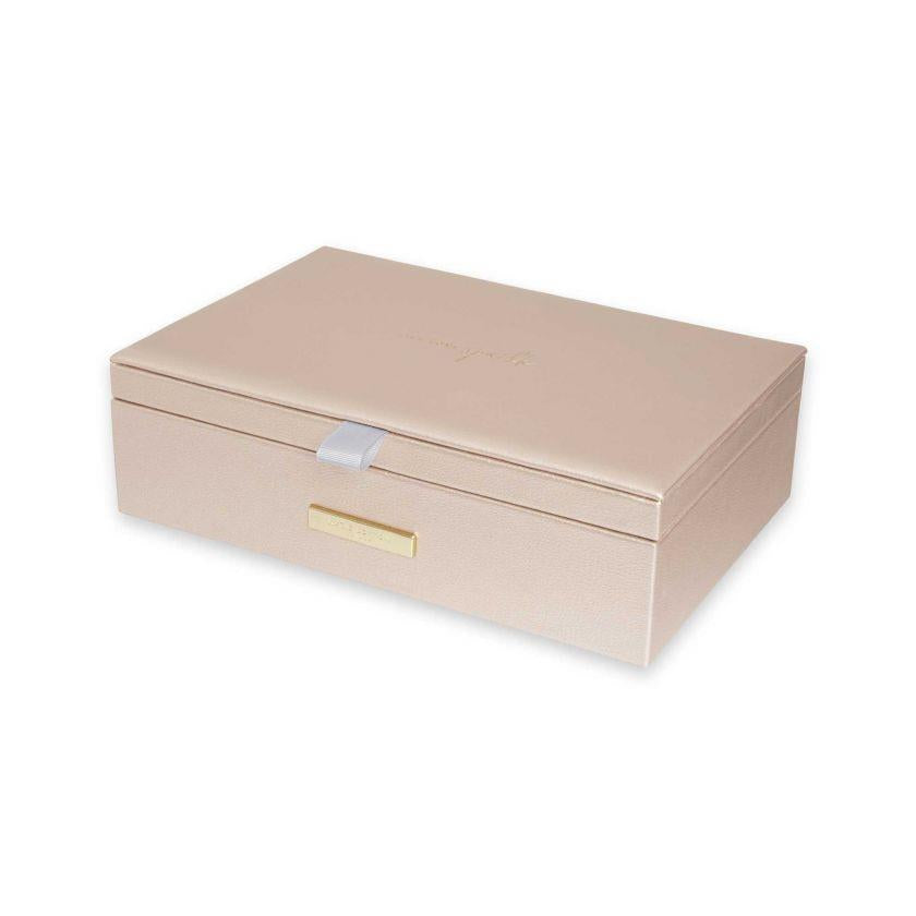 Metallic Gold Live Love Sprakle Pebble Jewellery Box