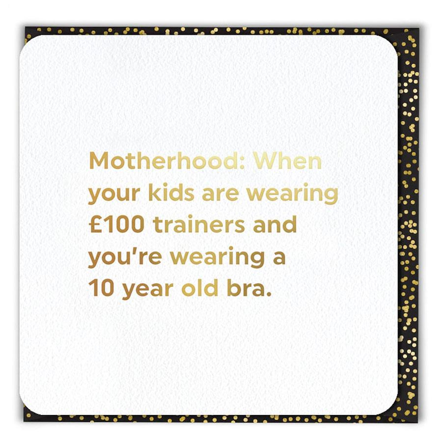 Motherhood Ten Year Old Bra Card