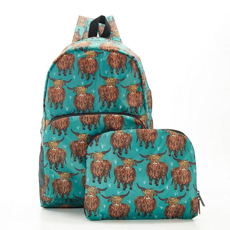 Teal Highland Cow Foldable Backpack