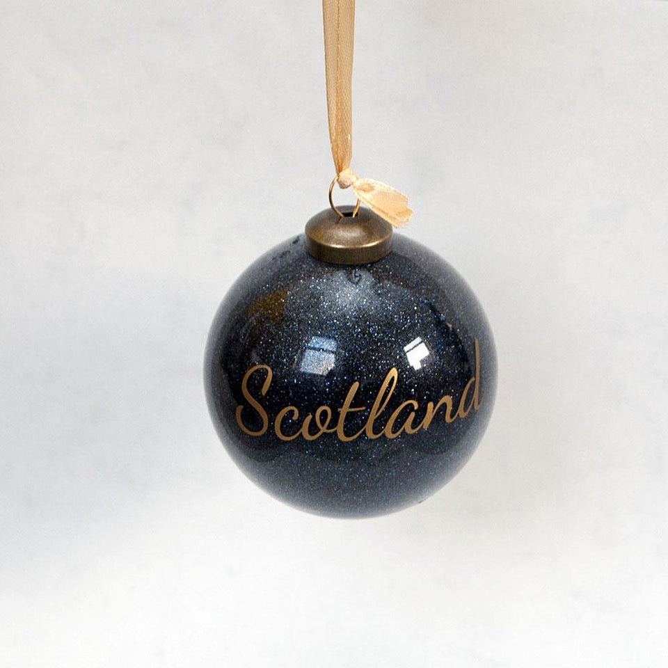 Navy Glitter Scotland Bauble