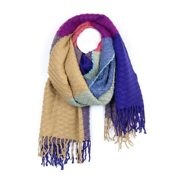 Textured Multi Colour Block Scarf