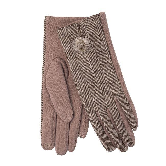 Ladies Camel Herringbone Mini Pom Pom Glove