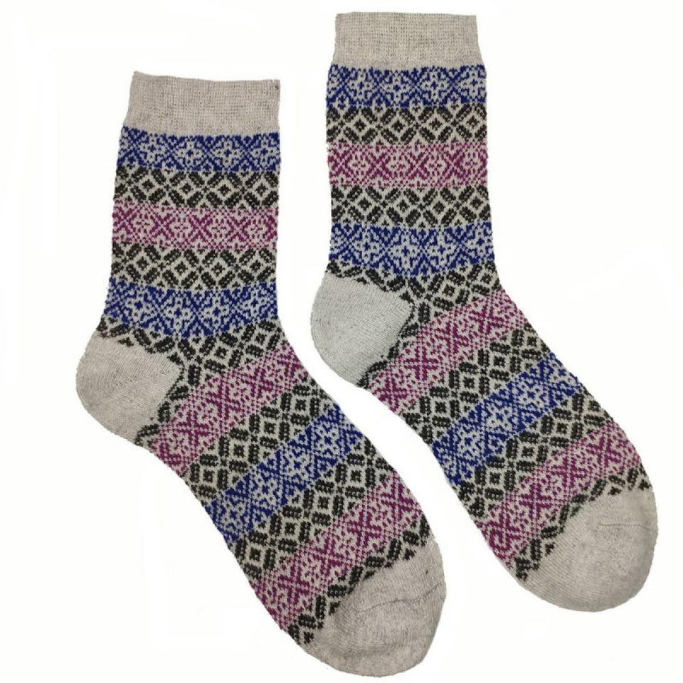 Grey, Purple & Blue Lerwick Wool Blend Socks