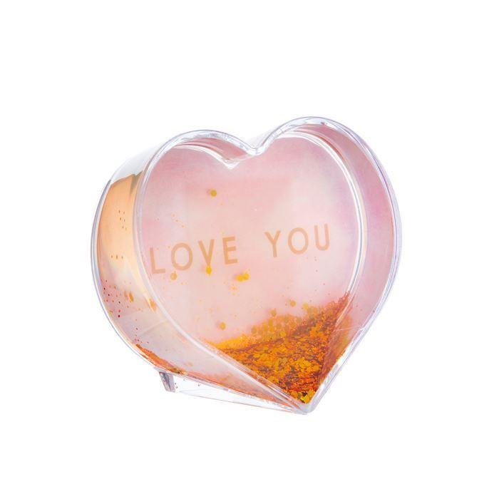Love You Pastel Pink Heart Glitter Frame