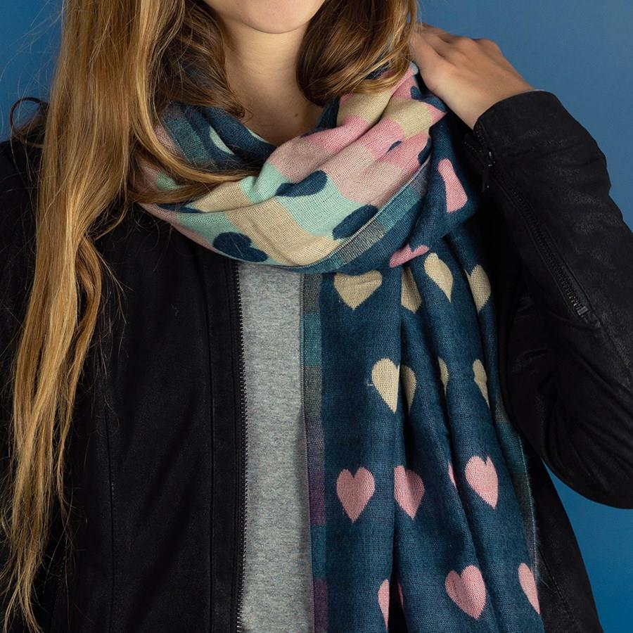 Blue Multicoloured Pastel Hearts Jacquard Scarf