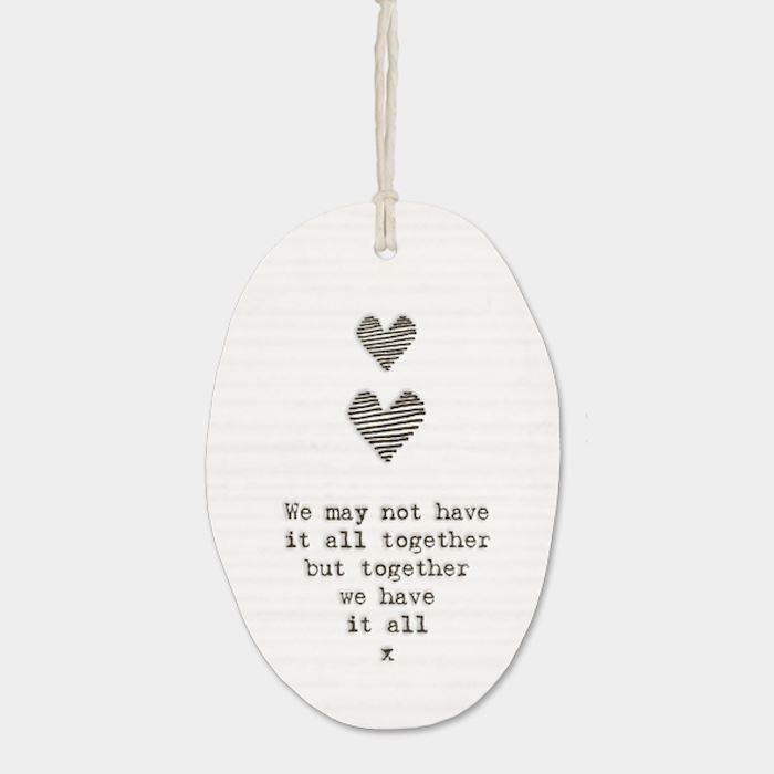 'Together We Have It All' Two Hearts Oval Porcelain Hanger