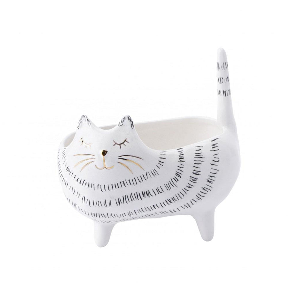 Cat Shaped Ceramic Planter