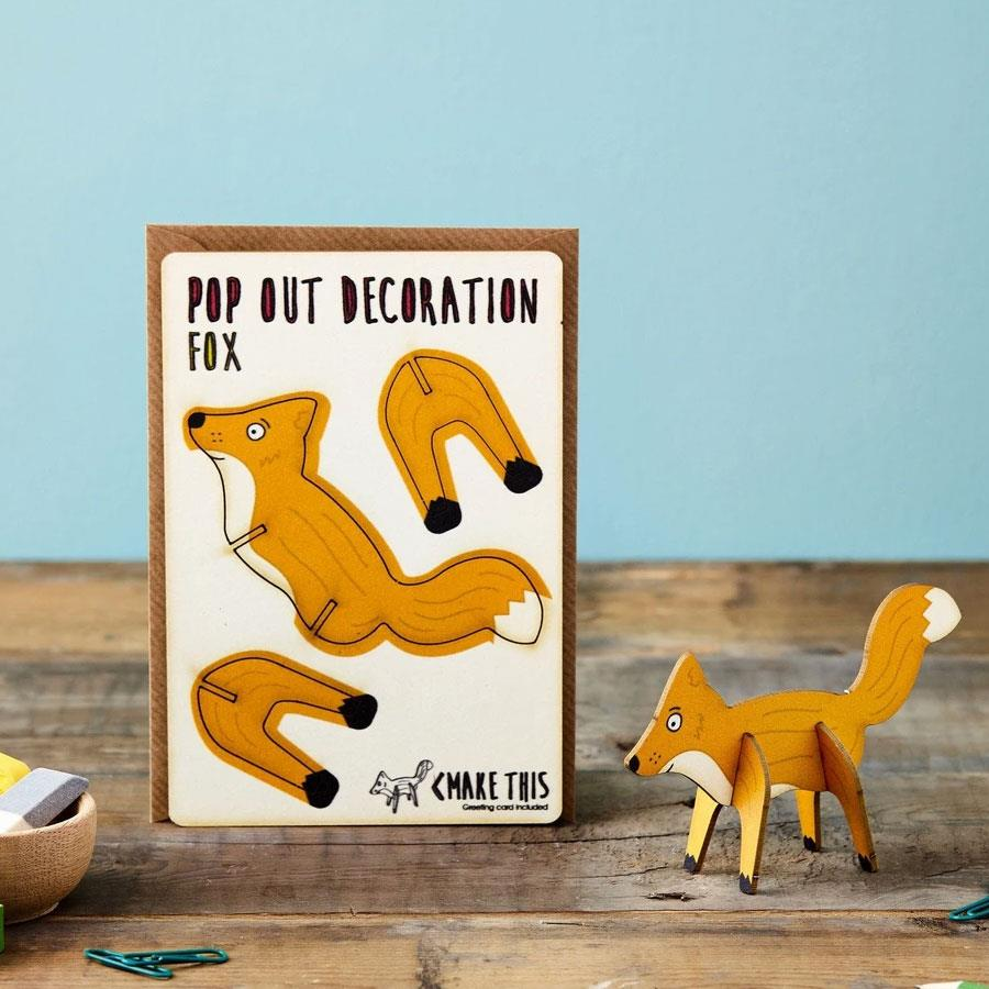 Fox Wooden Pop Out Card