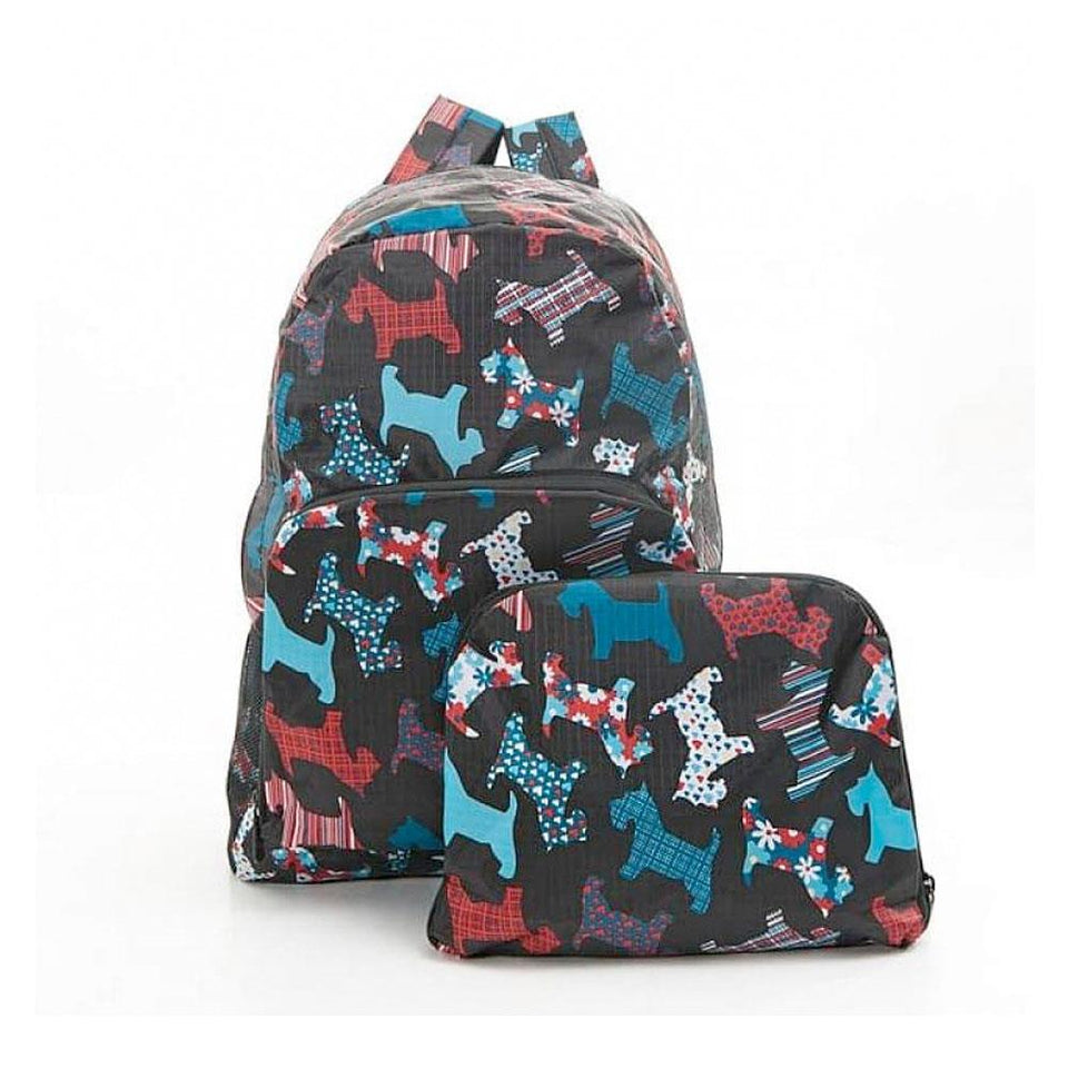 Black Floral Scottie Dog Foldable Backpack