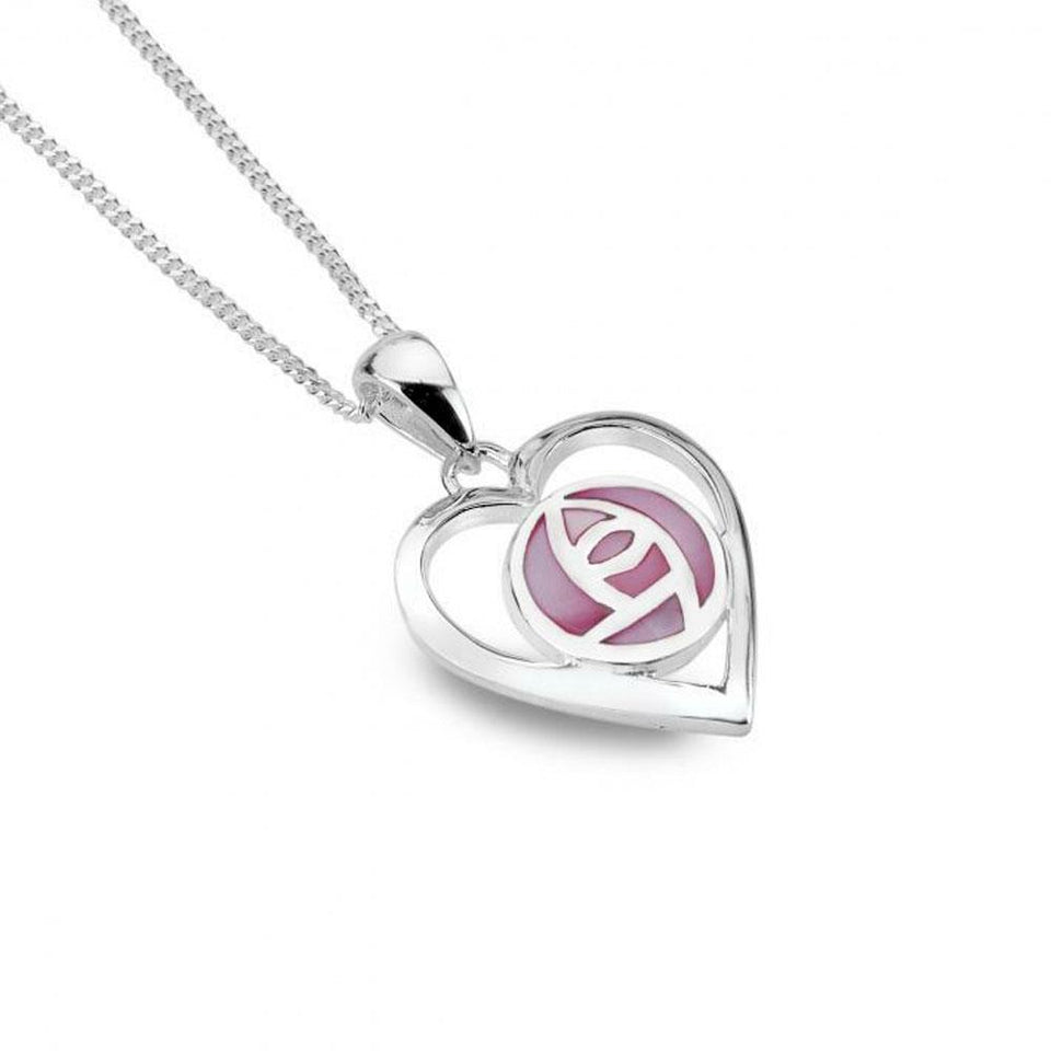 Mackintosh Pink Heart with Mother of Pearl Silver Pendant Necklace