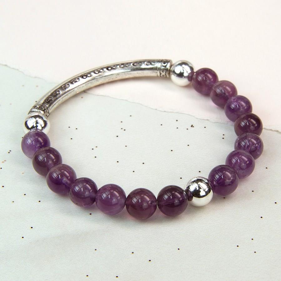 Amethyst and Silver Plated Beads Bracelet
