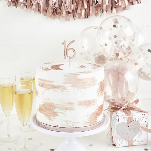 Rose Gold Diamante 16th Cake Topper