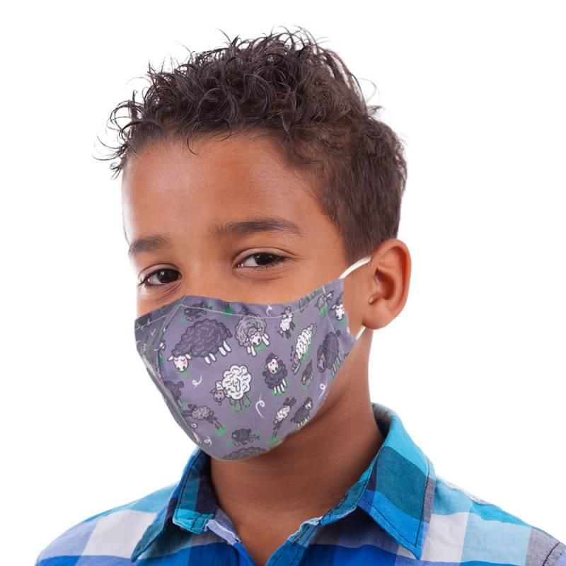 Grey Sheep Kid's Face Mask