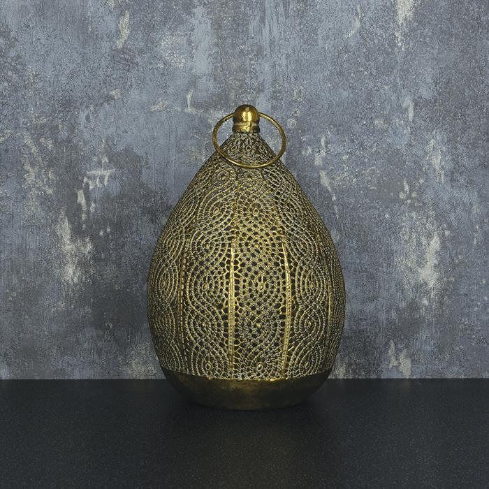 Metal Drop Hanging Lantern | Antique Gold Look