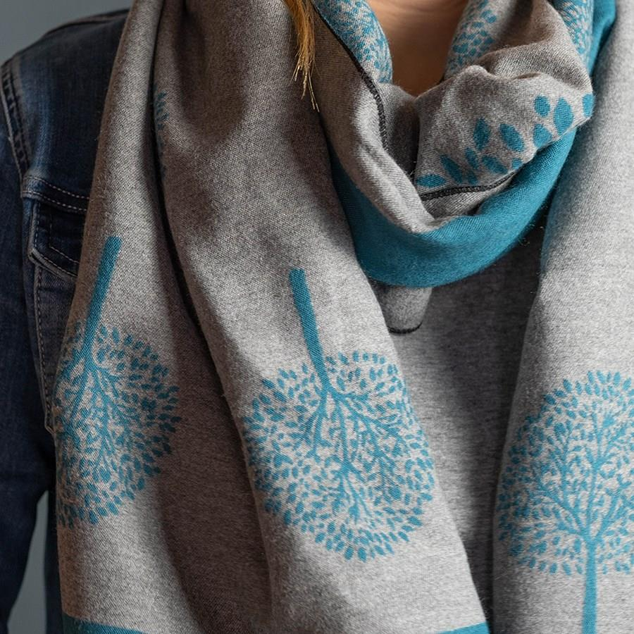 Teal and Grey Tree Of Life Soft Reversible Scarf