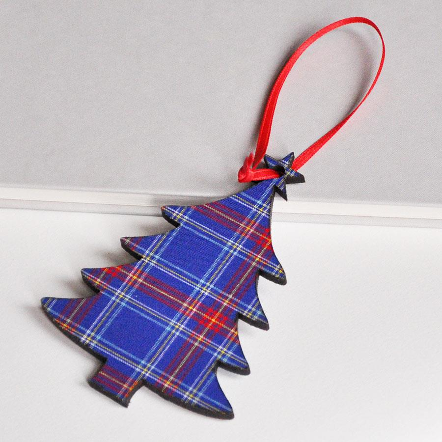 Blue Monarch Check Tree Decoration
