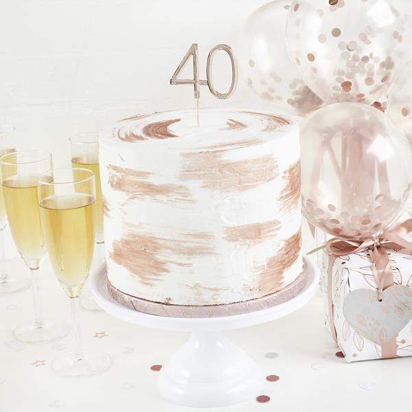 Rose Gold Diamante 40th Cake Topper