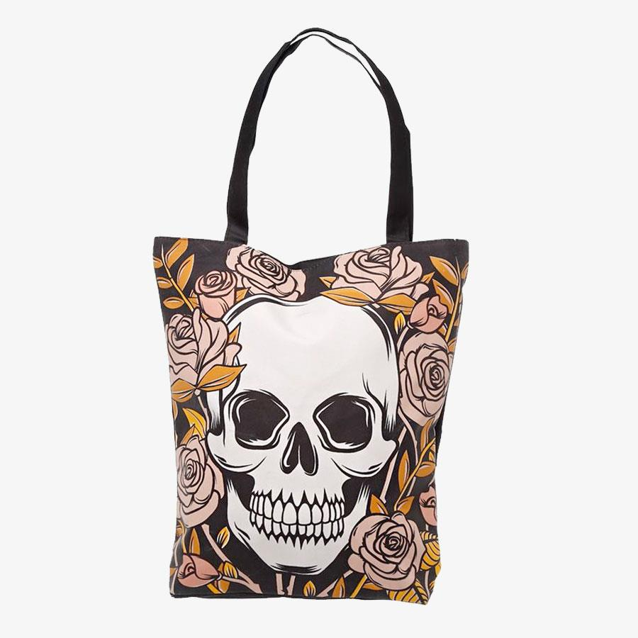 Skull and Roses Cotton Bag with Zip and Lining