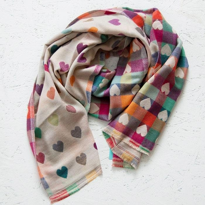 Ecru Multi Coloured Hearts Scarf