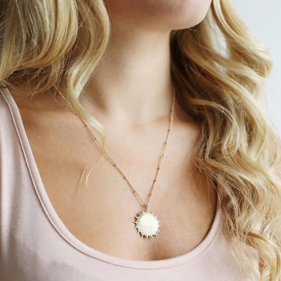 Gold Sunbeam Necklace with Satellite Chain