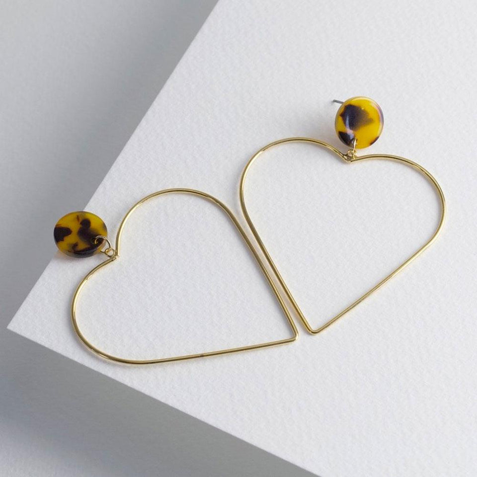 Large Tortoiseshell and Gold Heart Drop Earrings