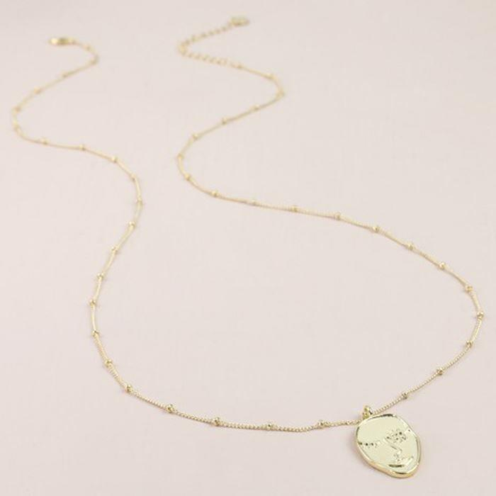 Gold Wink Face Necklace
