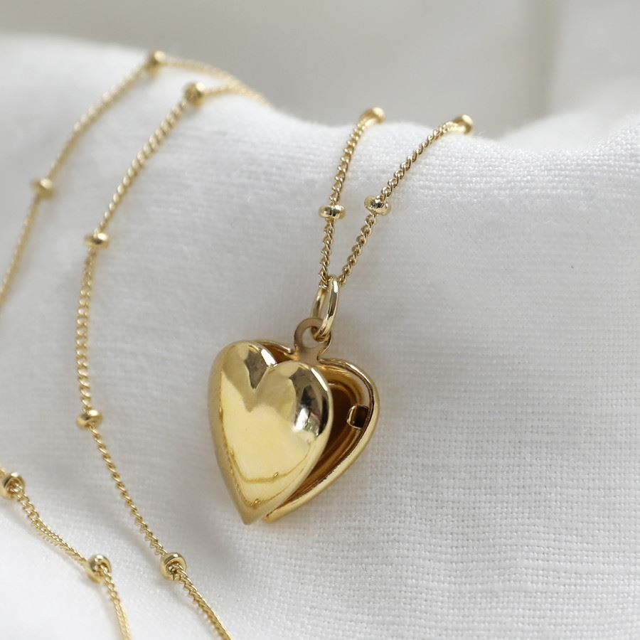 Small Heart Locket with Satellite Chain in Gold