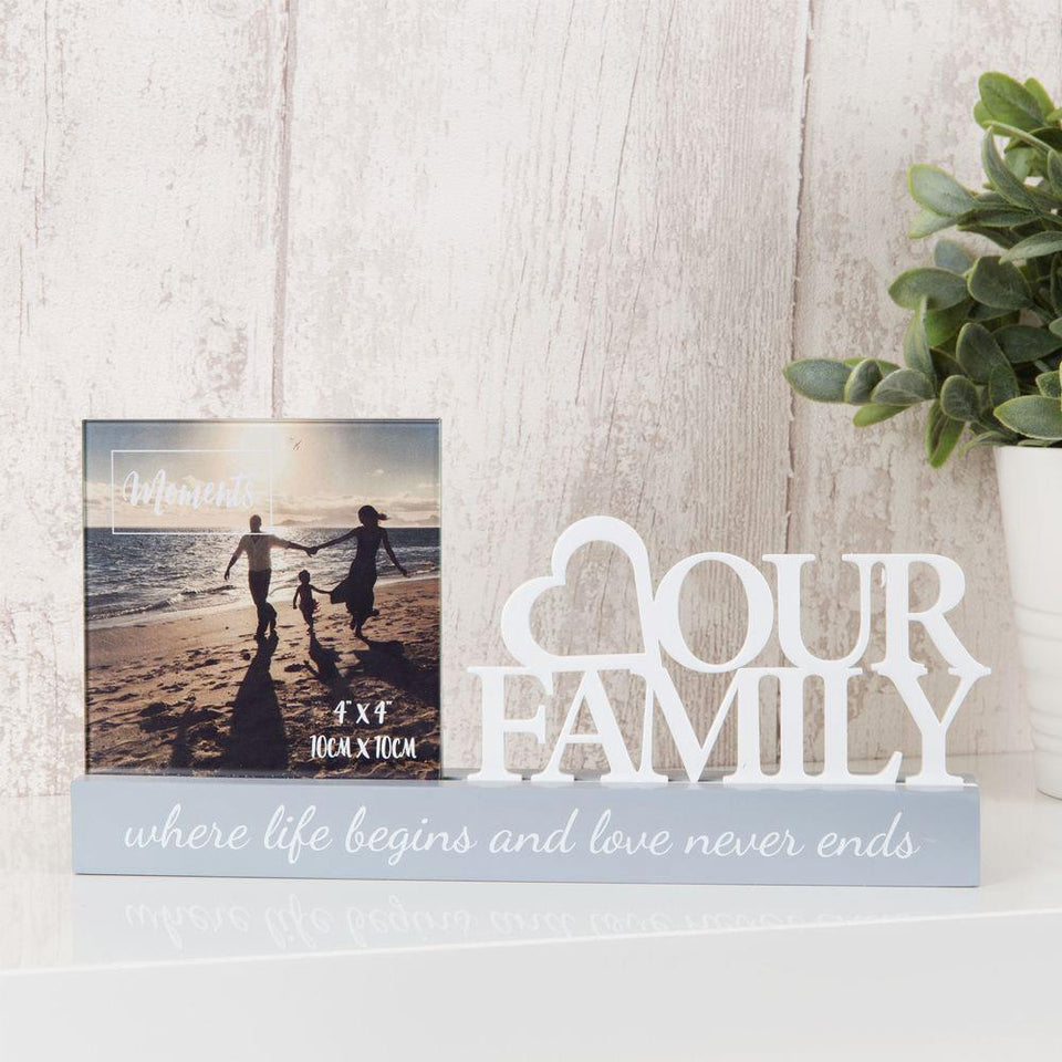 Love Our Family Cut Out Wooden Photo Frame