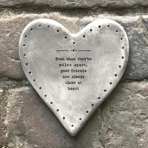 Even Miles Apart Rustic Porcelain Heart Coaster