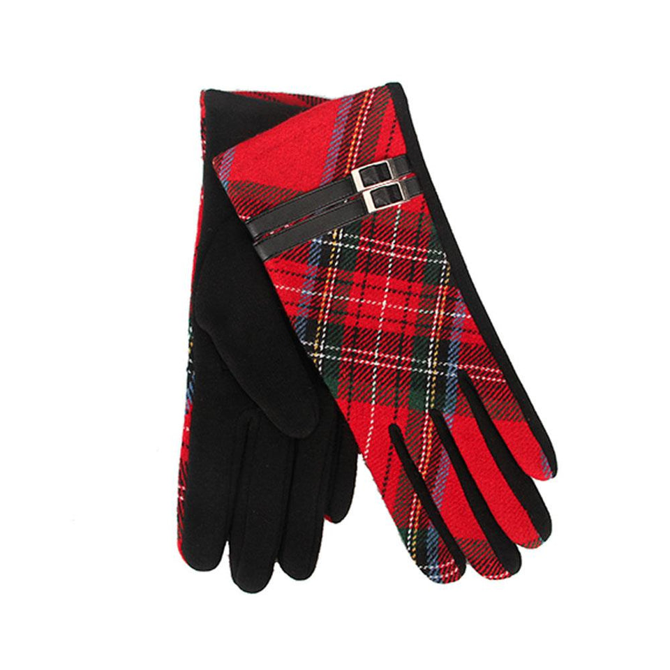 Red Tartan Gloves with Black Buckle