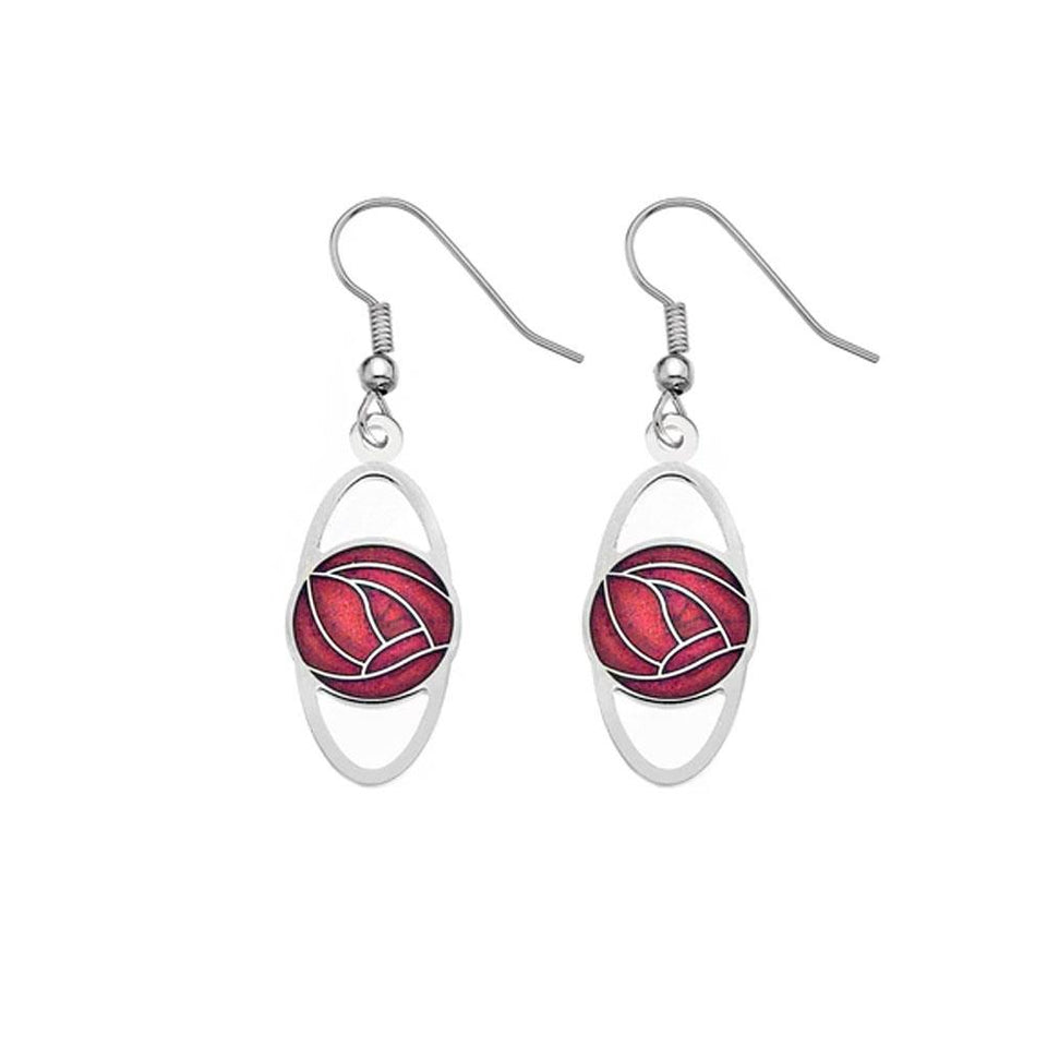 Mackintosh Red Rose Oval Silver Hook Earring