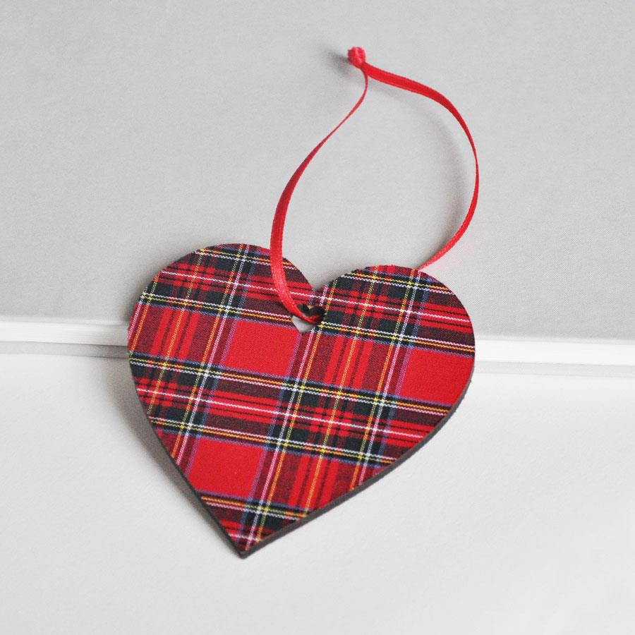 Royal Stewart Tartan Heart Hanging Decoration